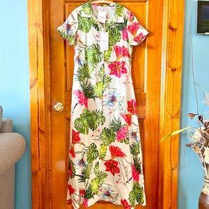 Floral Print Linen Maxi Dress